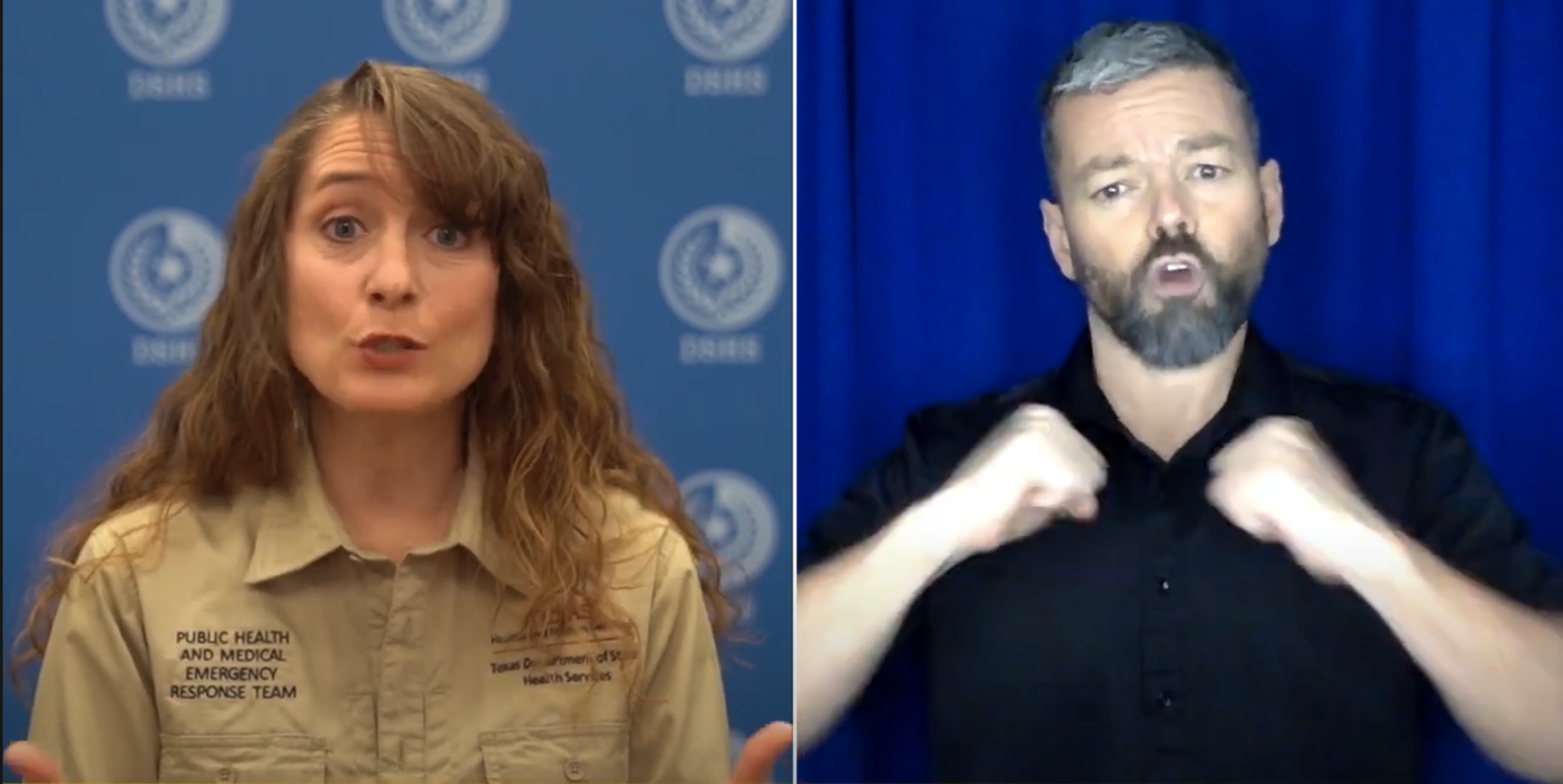 The image shows a split screen. A light skinned woman with brown hair and shirt is in front of a blue DSHS pattern backdrop. On the right, a light-skinned male wearing a black shirts signs in front of a blue background.